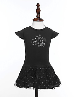 Girls' Print Dress,Cotton Summer Short Sleeve Floral Black