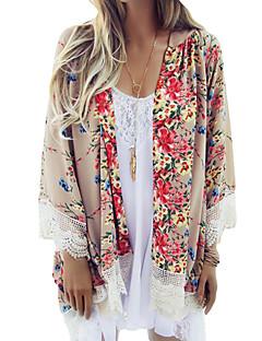 cheap -Women's Boho Loose Chiffon Kimono Cardigan Floral Print Lace Hem Long Sleeve Beach Casual Boho Outerwear Top