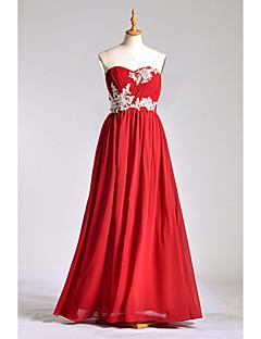 aラインの恋人の床の長さシフォンcharmeuseブライドメイドドレス