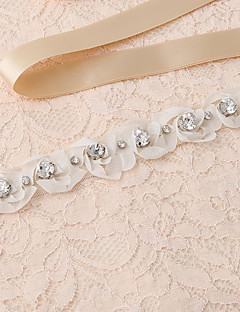 cheap Wedding Ribbons and Sashes-Satin Wedding Party/ Evening Dailywear Sash With Rhinestone Appliques Floral Pearls