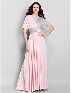A-Line V-neck Ankle Length Jersey Bridesmaid Dress with Criss Cross by LAN TING BRIDE®