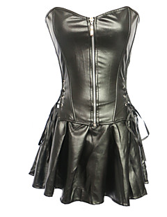 cheap Corsets-Women's Zipper Plus Size Corset Dresses-Solid
