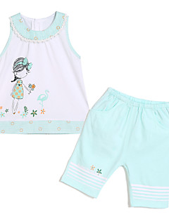Clothing Set,Cotton Summer Sleeveless Cartoon Light Blue