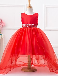 Ball Gown Asymmetrische Flower Girl Dress - Polyester Mouwloze Jewel Neck Met Beading door ydn