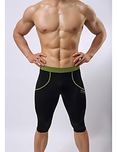 男性用 ランニングショーツ 高通気性 (>15,001g) 高通気性 ビデオ圧縮 パンツ 3/4 タイツ スイムウェア ボトムズ のために エクササイズ&フィットネス 水泳 サイクリング/バイク ランニング タクテル タイト ホワイト ブラック グリーン ブルー S M L