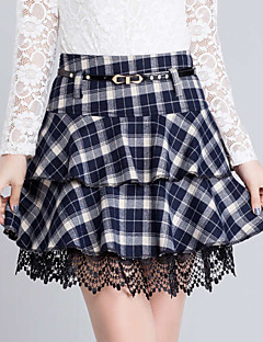 Χαμηλού Κόστους Mini Skirt-Γυναικεία Μεγάλα Μεγέθη Γραμμή Α Φούστες - Καρό, Δαντέλα Επίπεδα