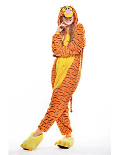 billige Kigurumi-Voksne Kigurumi-pysjamas Tiger Onesie-pysjamas Polar Fleece Gul Cosplay Til Damer og Herrer Pysjamas med dyremotiv Tegnefilm Festival / høytid kostymer