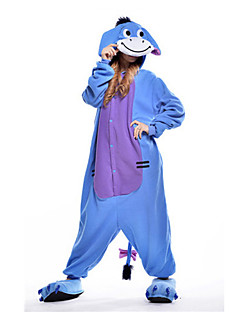 Kigurumi Pyjamas Æsel Heldragtskostumer Pyjamas Kostume Polarfleece Blå Cosplay Til Voksne Nattøj Med Dyr Tegneserie Halloween Festival /