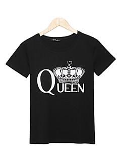 Χαμηλού Κόστους Classic Black Tops-Γυναικεία T-shirt Δουλειά Σουρωτά Στάμπα Βαμβάκι