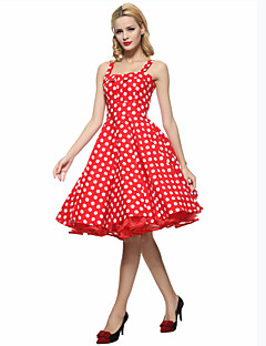 Women's Party Plus Size Vintage A Line Dress,Polka Dot Strap Knee-length Sleeveless Cotton Summer High Rise Inelastic Thin