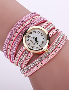 billige Armbåndsure-Dame Quartz Armbåndsur Hot Salg Læder Bånd Blomst Mode Sort Hvid Blåt Orange Brun Pink