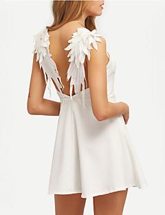 Bayanlar A Şekilli Seksi Elbise Solid Mini Askılı Polyester