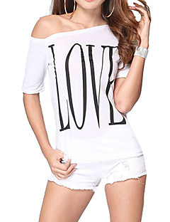 Women's Off The Shoulder Casual/Print Micro-elastic Short Sleeve Regular T-shirt (Cotton)
