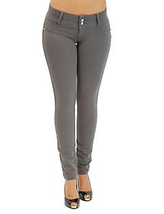 Feminino Sólido Média Poliéster Elastano Cor Única Legging,Este modelo é fiel ao tamanho.