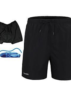 billige Sykkelbukser,Shorts,Strømpebukser, Tights-SANTIC Herre Sykkelshorts Sykkel Shorts / Undertøy Shorts / MTB-shorts 3D Pute, Fort Tørring, Pustende Ensfarget Polyester Svart