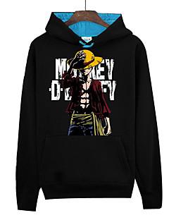 קיבל השראה מ One Piece Monkey D. Luffy אנימה תחפושות קוספליי קפוצ'ון Cosplay דפוס שרוול ארוך עליון עבור יוניסקס