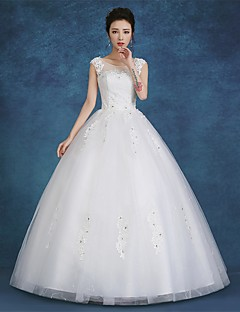 Ball Gown Scoop Neck Floor Length Satin Tulle Made To Measure Wedding Dresses With Lace By Lan Ting Express