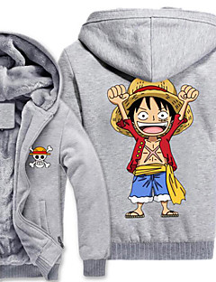 baratos -Inspirado por One Piece Monkey D. Luffy Anime Fantasias de Cosplay Hoodies cosplay Estampado Manga Longa Blusa Para Masculino