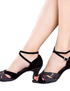 hesapli -Kadın Latince Işıltılı Simler Payetli Kadife Tafta Sentetik Sandaletler Topuklular Spor Ayakkabı İç Mekan Fırfırlı Kırma Dantelli