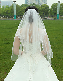 Two-tier Beaded Edge Wedding Veil Fingertip Veils With Ruched Tulle