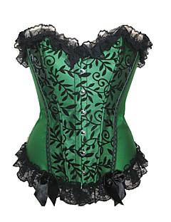 אישה מחוך מתחת לחזה / מחוך מעל החזה / מידה גדולה Nightwear-סקסית / פוש אפ / דפוס / Retro דפוס-Medium ניילון / פוליאסטר בז' / סגול / ירוק