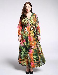 Χαμηλού Κόστους Μακριά φορέματα-Γυναικεία Μπόχο Μεγάλα Μεγέθη Παντελόνι Στάμπα Πράσινο του τριφυλλιού / Μακρύ / Βαθύ V / Φανάρι μανίκι / Φλοράλ