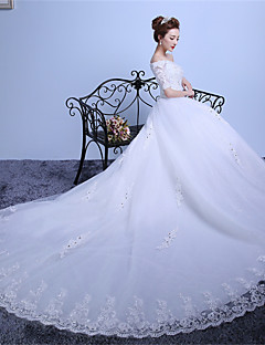 Ball Gown Off-the-shoulder Cathedral Train Lace Satin Tulle Wedding Dress with Appliques Crystal Detailing by QQC Bridal