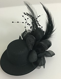 cheap Flower Girl Headpiece-Tulle Feather Fascinators 1 Wedding Special Occasion Headpiece