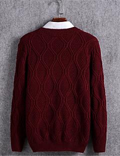 tanie Męskie swetry i swetry rozpinane-Męskie Pulower Jendolity kolor Długi rękaw