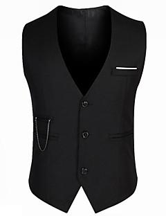 hesapli Erkek Blazerları ve Takım Elbiseleri-Erkek Günlük / Çalışma Normal Vesta, Solid V Yaka Kolsuz Pamuklu / Akrilik / Polyester Siyah XL / XXL / XXXL / İnce