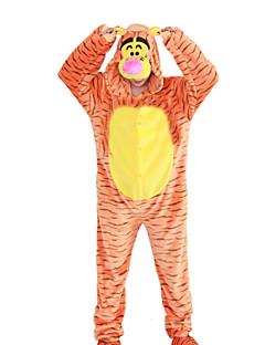 Недорогие Пижамы кигуруми-Взрослые Пижамы кигуруми Tiger Цельные пижамы Флис Оранжевый Косплей Для Муж. и жен. Нижнее и ночное белье животных Мультфильм День всех святых Фестиваль / праздник
