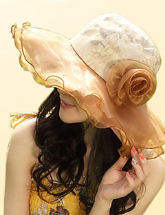 Χαμηλού Κόστους Breezy & Chic Straw Hats-Γυναικεία Βίντατζ Χαριτωμένο Καθημερινό Βαμβάκι Στάμπα - Καπελίνα