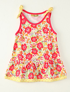 Girls' Going out Print Dress,Polyester Summer Sleeveless Red