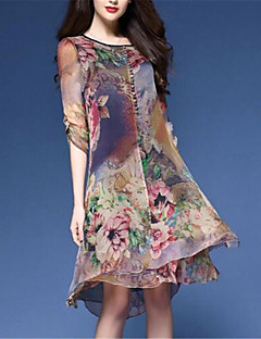 cheap Print Dresses-Women's Plus Size Chinoiserie Loose Chiffon Dress - Floral, Print