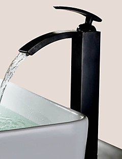 Starožitný Umyvadlo na desku Vodopád Keramický ventil S jedním otvorem Single Handle jeden otvor Olejem leštěný bronz , Koupelna