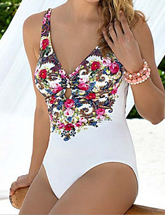 Women's Floral Bandeau One-piece Swimwear,Polyester White