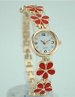 billige Armbåndsure-Dame Quartz Armbåndsur Afslappet Ur Legering Bånd Blomst Elegant Mode Sort Hvid Rød Pink
