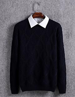 tanie Męskie swetry i swetry rozpinane-Męskie Pulower Solidne kolory Długi rękaw