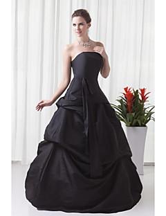Aライン ストラップレス フロア丈 タフタ フォーマルイブニング ドレス とともに プリーツ 〜によって XFLS