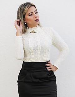 Damen Solide Einfach Lässig/Alltäglich Bluse,Ständer Frühling Langarm Beige Baumwolle / Elasthan Undurchsichtig