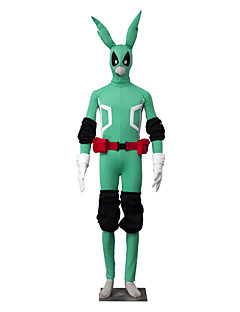 "billige Anime cosplay-Inspirert av My Hero Academy Battle For All / Boku no Hero Academia Midoriya Izuku Anime  ""Cosplay-kostymer"" Cosplay Klær Ensfarget Langermet Trikot / Heldraktskostymer / Hansker / Belte Til Herre"