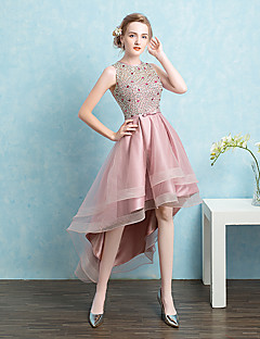 Ball Gown Jewel Neck Asymmetrical Satin Tulle Homecoming Prom Formal Evening Dress with Beading Bow(s) Sash / Ribbon Sequins by Beautiful Life