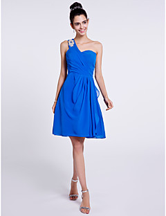 cheap Imperial Blue-A-Line One Shoulder Knee Length Chiffon Bridesmaid Dress with Beading Side Draping by LAN TING BRIDE®