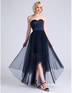 cheap Imperial Blue-A-Line Sweetheart Asymmetrical Satin Tulle Bridesmaid Dress with Ruched Criss Cross by LAN TING BRIDE®