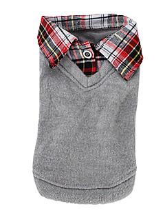 abordables -Chien Tee-shirt Pull Gris Vêtements pour Chien Hiver Printemps/Automne Britannique Mode Décontracté / Quotidien
