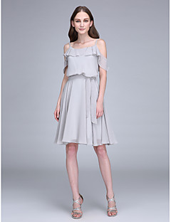 cheap Short Bridesmaid Dresses-A-Line Spaghetti Straps Knee Length Chiffon Bridesmaid Dress with Sash / Ribbon by LAN TING BRIDE®