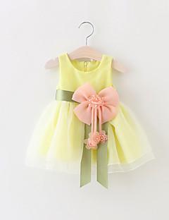 billige Babykjoler-Baby Pigens Kjole Fest Ensfarvet, Bomuld Polyester Sommer Uden ærmer Pænt tøj Rosette Gul Rød Grøn Blå Lys pink
