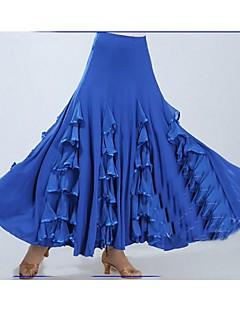 ボールルームダンス ボトムズ 女性用 ダンスパフォーマンス ポリエステル プロミックス フリル ドレープ 1個 ノースリーブ ローウエスト スカート