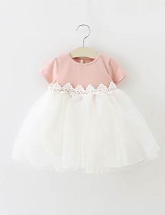 Baby Party/Cocktail Dress Ensfarget Bomull / Polyester Sommer Grønn / Rosa