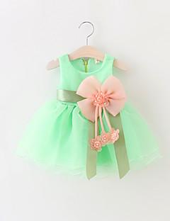billige Babytøj-Baby Pigens Kjole Fest Ensfarvet, Bomuld Polyester Sommer Uden ærmer Pænt tøj Rosette Gul Rød Grøn Blå Lys pink